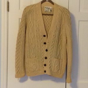 Irish wool cable knit sweater. Cardigan. Cream.